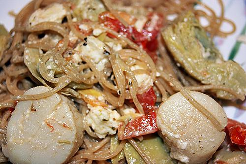 Sea Scallop Pasta with Feta and Artichokes Recipe