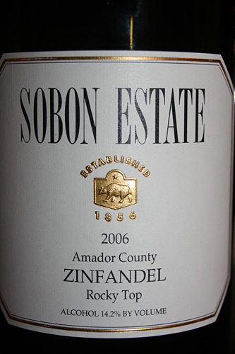 Sobon Estate 2006 Organic Zinfandel Rocky Top Red Wine