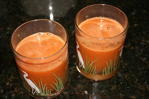 Carrot Broccoli Cucumber Tomato Lime and Ginger Juice