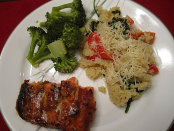 Honey Mustard Galzed Salmon with Cous Cous Recipe