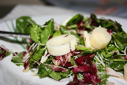 Hearts of Palm Salad Recipe with Arugula, Spinach, Radicchio, and Lime Dressing