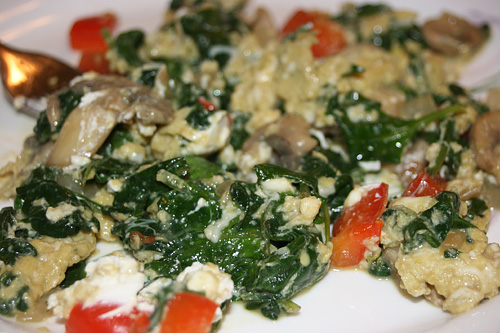 Egg Mess with spinach, onions, mushrooms, tomatoes and red pepper